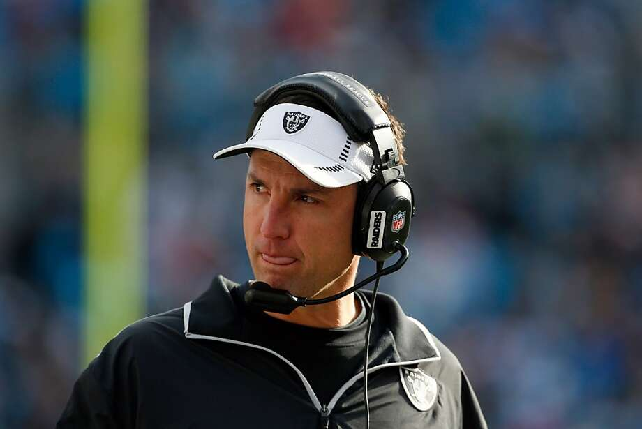 Oakland Raiders' head coach Dennis Allen on the sidelines against the Carolina Panthers during the second half of an NFL football game in Charlotte, N.C., Sunday, Dec. 23, 2012. The Panthers won 17-6. (AP Photo/Bob Leverone) Photo: Bob Leverone, Associated Press