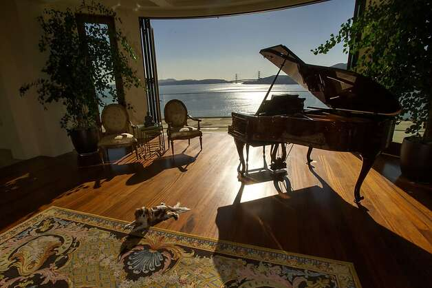A dog lies on the floor near a piano in the living room of a 15,000 square-foot custom built home on Belvedere Island in Marin County, California, U.S., on Wednesday, Dec. 19, 2012. The builder couldn't find a buyer for the brand-new waterfront mansion he listed in January for $45 million. He hopes one will turn up at a Dec. 30 auction, where the starting bid will be $25 million. Photographer: David Paul Morris/Bloomberg Photo: David Paul Morris, Bloomberg