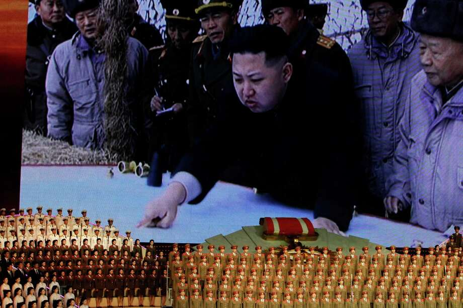 In this April 24, 2012 file photo, North Korea's new commander in chief, Kim Jong Un is displayed on a giant screen during a concert on the eve of the 80th anniversary of the founding of the North Korean army in Pyongyang, North Korea. Photo: Ng Han Guan, ASSOCIATED PRESS / A2012