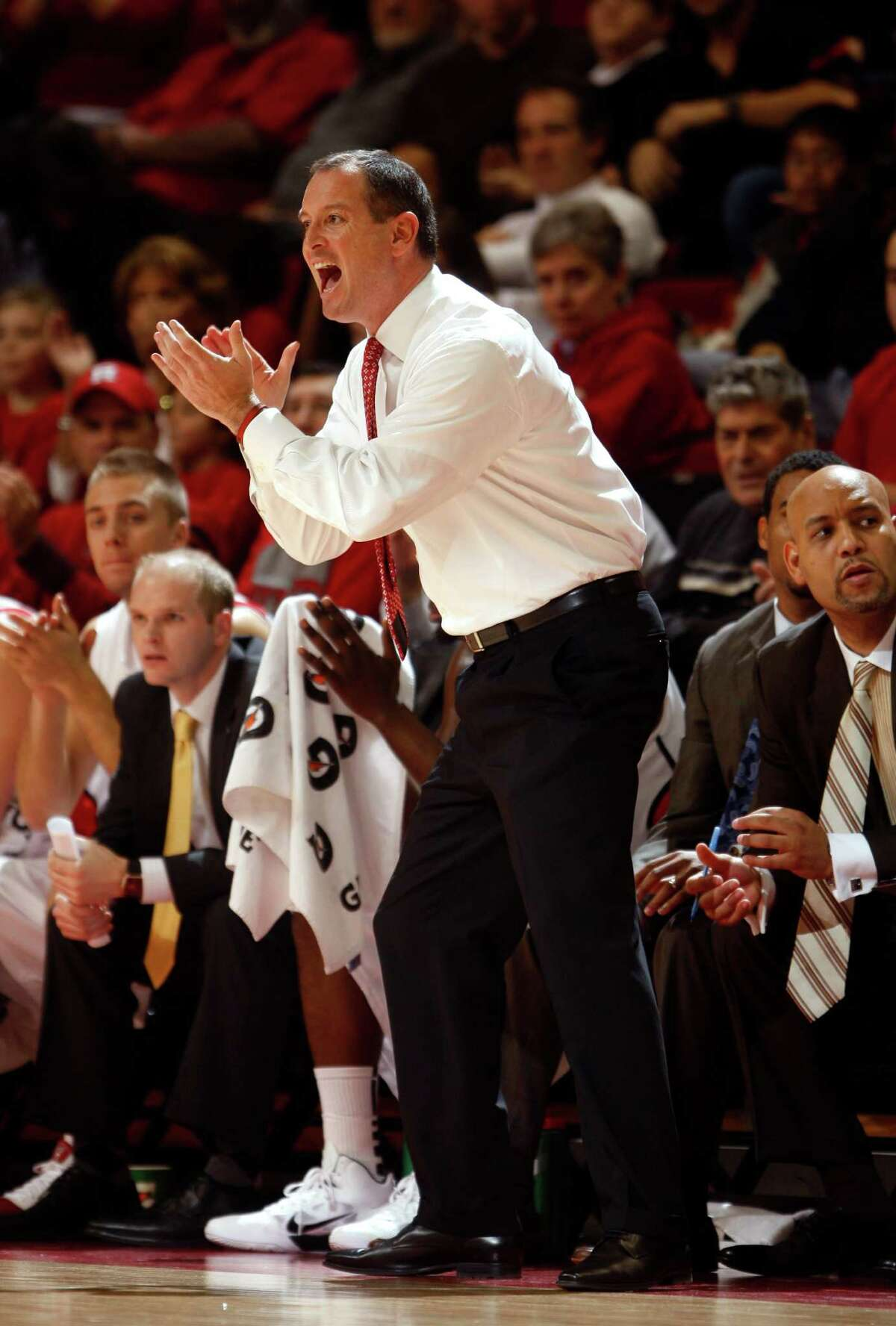 Rutgers Head Coach Mike Rice yells to his players during the first half against Miami at the Rutgers Athletic Center in Piscataway, NJ on 11/21/10. (Frank H. Conlon/For The Star-Ledger) TO PURCHASE THIS PHOTO, CALL THE STAR-LEDGER PHOTO LIBRARY AT 973-392-1530