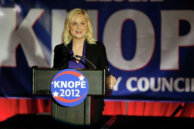 "This image released by NBC shows Amy Poehler as Leslie Knope in a scene from ""Parks and Recreation."" Photo: Tyler Golden, AP / NBC"
