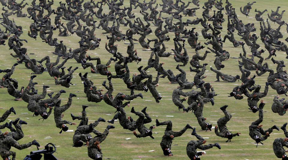 In this Sept. 26, 2012 file photo, South Korean special army soldiers demonstrate their martial arts