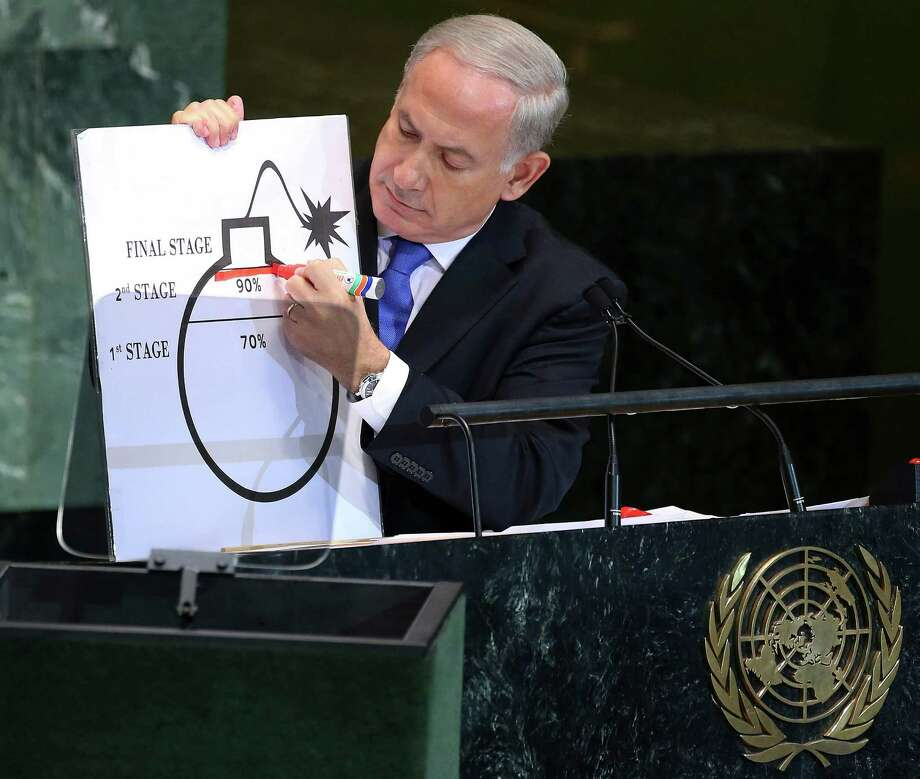 Israeli Prime Minister Benjamin Netanyahu draws a red line on an illustration describing Iran's ability to create a nuclear weapon as he addresses the United Nations General Assembly, Sept. 27, 2012. Photo: CHANG W LEE, NYT / NYTNS