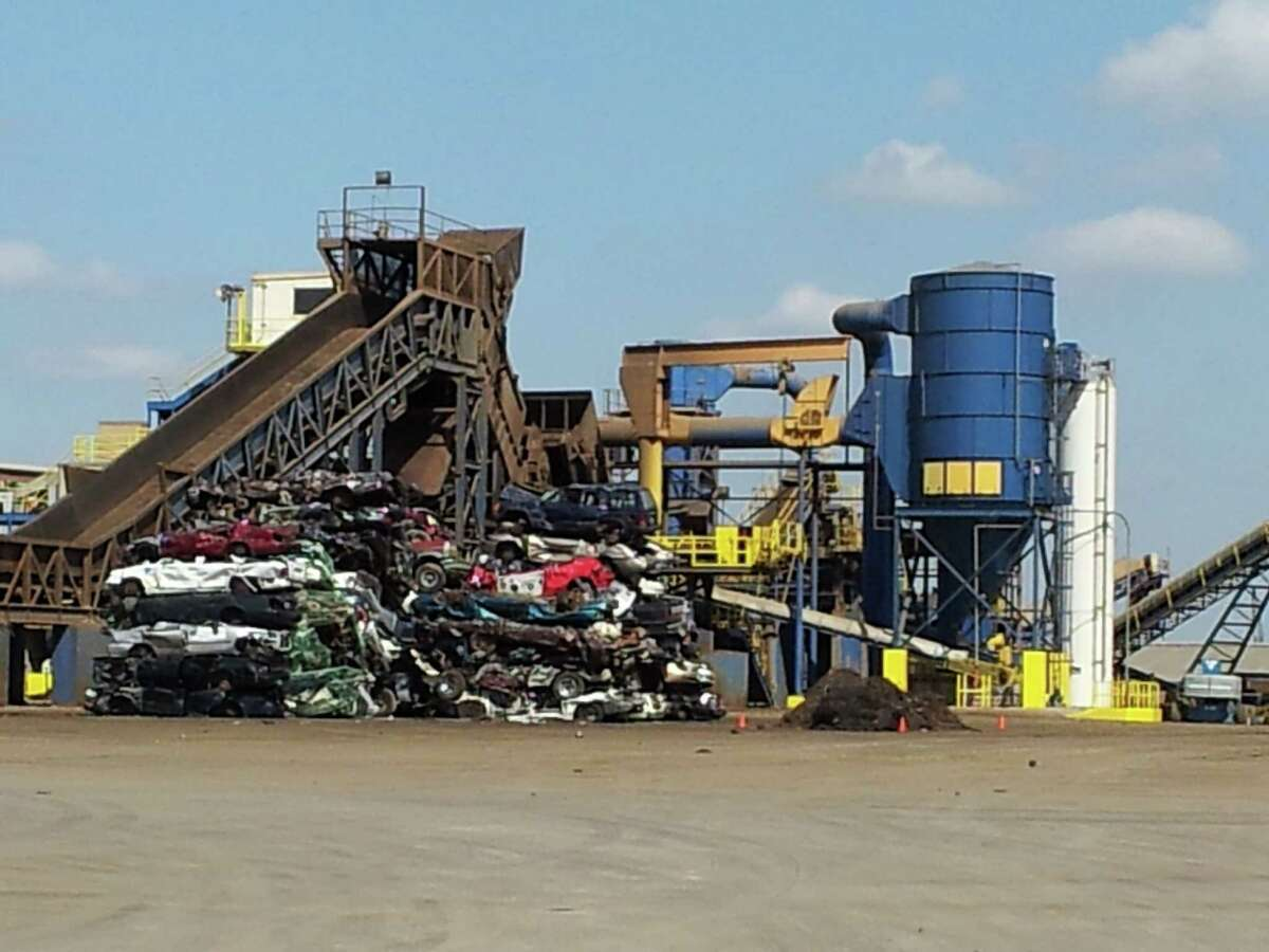 Crushed cars inside Texas Port Recycling, a car crusher in Houston's Manchester neighborhood.
