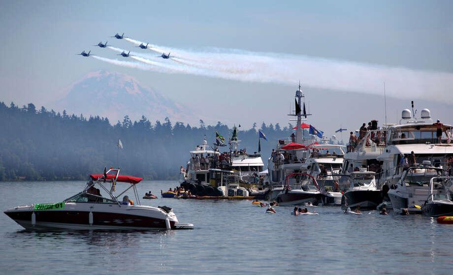 August 5, 2012— The U.S. Navy Blue Angels make their annual appearance as they fly over the Log Boom during Seafair on Lake Washington. Photo: JOSHUA TRUJILLO / SEATTLEPI.COM