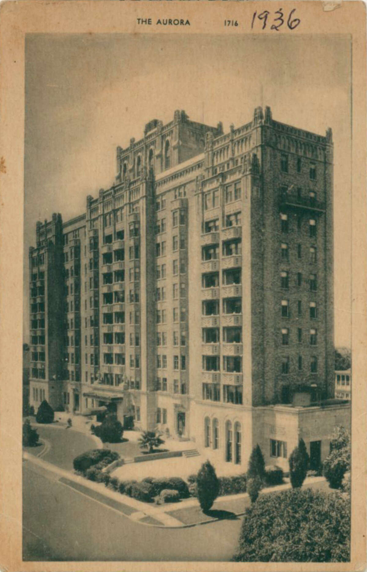 The Aurora Apartments at 509 Howard St. are seen in 1936.