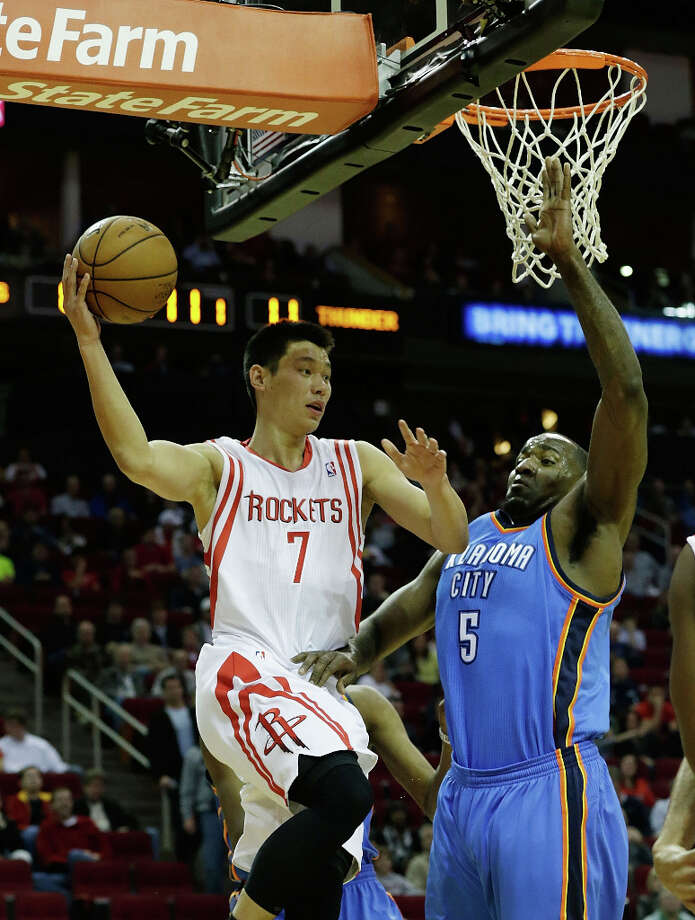 Dec. 29: Thunder 124, Rockets 94Jeremy Lin #7 of the Rockets passes over Kendrick Perkins #5 of the Thunder. Photo: Scott Halleran, Getty Images / 2012 Getty Images