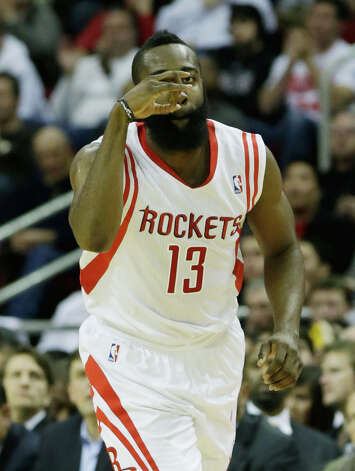 James Harden #13 of the Rockets reacts to a shot against the Thunder. Photo: Scott Halleran, Getty Images / 2012 Getty Images
