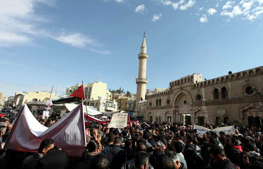 Jordanian protesters chant anti-government and anti-King Abdullah II slogans during a protest in front of the Al-Hussieni Mosque in Amman, Jordan, on Friday. Photo: AP