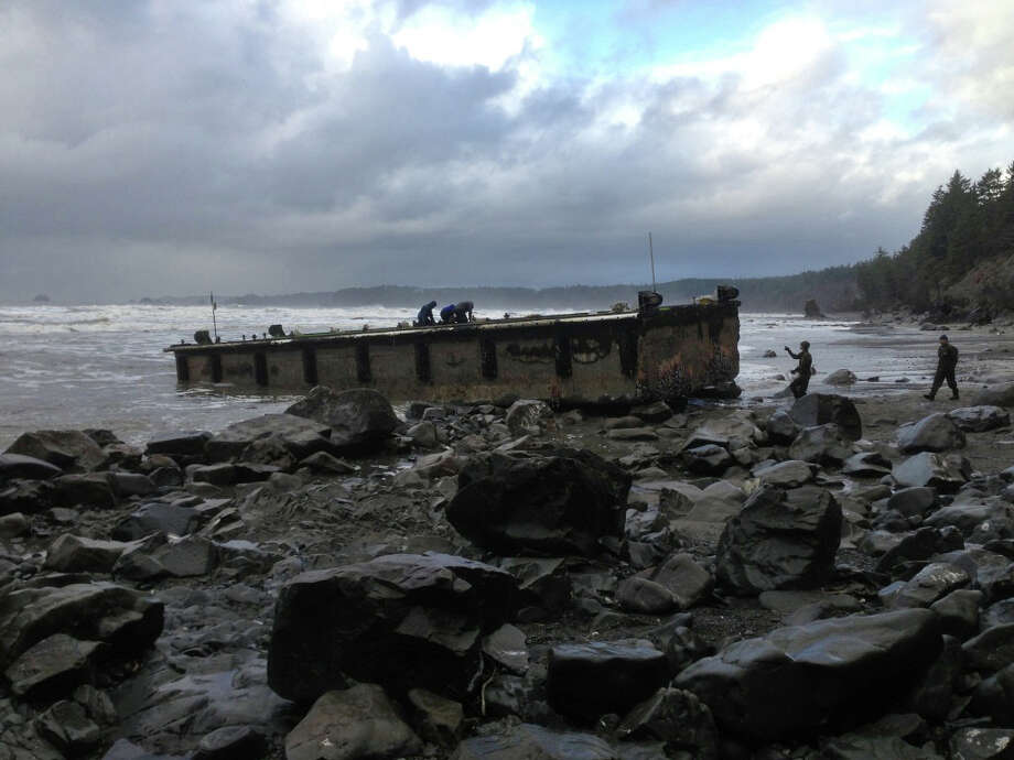 In this Dec. 21 file photo provided by the Washington Dept. of Fish & Wildlife, scientists inspect a dock that floated up on a remote stretch of wilderness beach in northwestern Washington. A scientist who examined the dock this week says it looks just like the one that came ashore on a central Oregon beach last summer, suggesting it also is a piece of tsunami debris from Japan. Photo: AP