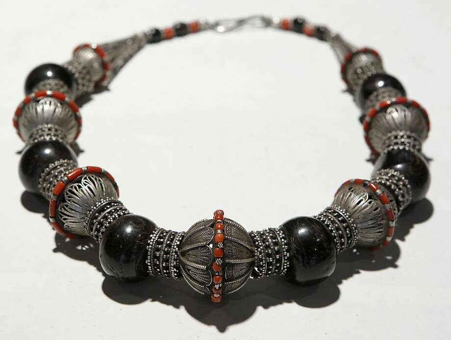This necklace of silver and coral from Yemen can be found at the Yone bead store in San Francisco. Photo: Paul Chinn, The Chronicle