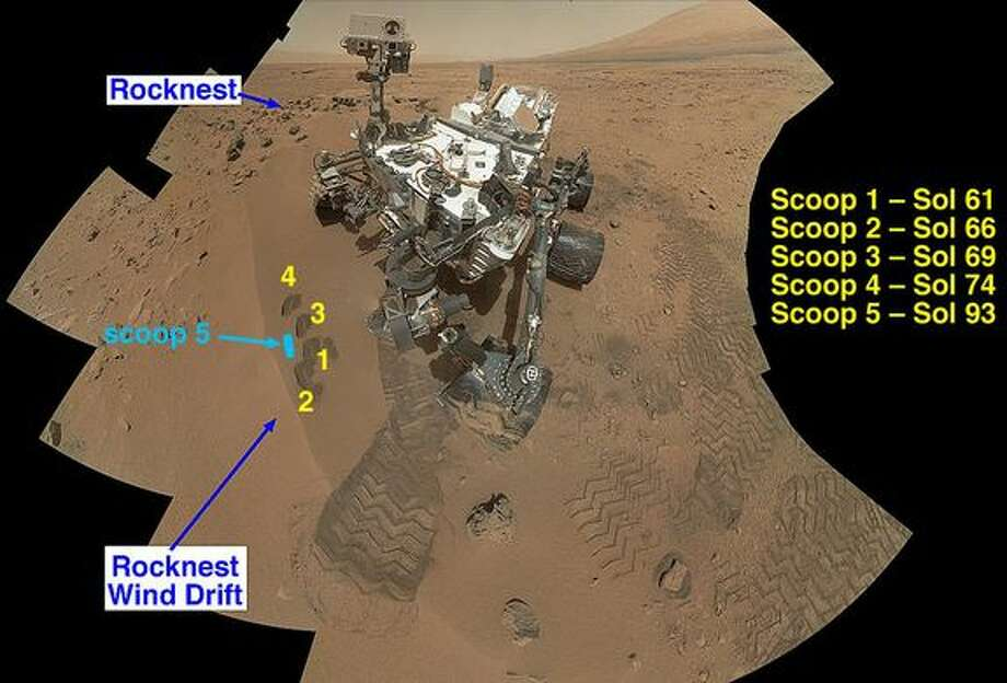 NASA's Curiosity Mars rover documented itselfin the context of its work site, an area called Rocknest Wind Drift, on the 84th Martian day, or sol, of its mission. Image released Dec. 3, 2012.(NASA/JPL-Caltech/Malin Space Science Systems)