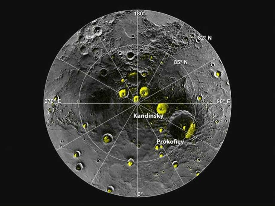 Tradar image of Mercury's north polar region f is shown superposed on a mosaic of MESSENGER images of the same area. All of the larger polar deposits are located on the floors or walls of impact craters. Deposits farther from the pole are seen to be concentrated on the north-facing sides of craters. Image (NASA/Johns Hopkins University Applied Physics Laboratory/Carnegie Institution of Washington/National Astronomy and Ionosphere Center, Arecibo Observatory)