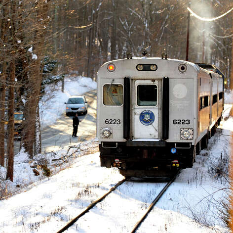 This is the train which hit a car carrying four people near the intersection of Simpaug Turnpike and Long Ridge Road in West Redding Center, Conn., Sunday, Dec. 30, 2012. Photo: Michael Duffy