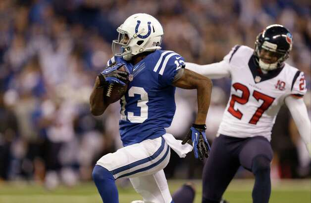 Indianapolis Colts' T.Y. Hilton (13) makes a  70-yard touchdown reception during the second half of an NFL football game against the Houston TexansSunday, Dec. 30, 2012, in Indianapolis. (AP Photo/Michael Conroy) Photo: Michael Conroy, Associated Press / AP