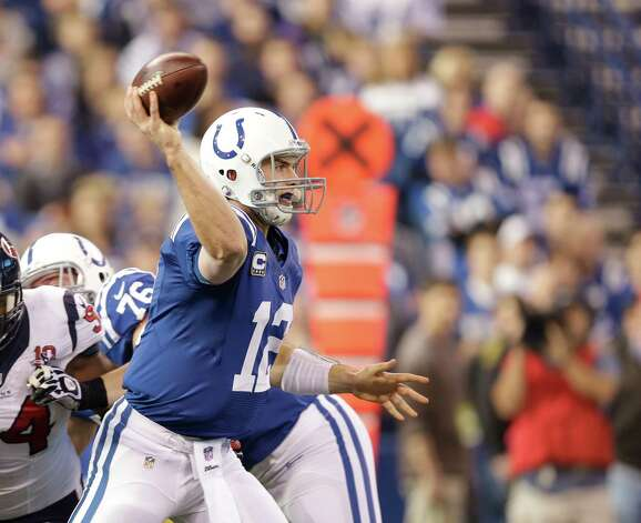 Indianapolis Colts' Andrew Luck (12) throws during the first half of an NFL football game against the Houston Texans Sunday, Dec. 30, 2012, in Indianapolis. (AP Photo/Michael Conroy) Photo: Michael Conroy, Associated Press / AP
