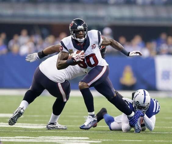 Houston Texans' Andre Johnson (80) runs during the first half of an NFL football game against the Indianapolis Colts Sunday, Dec. 30, 2012, in Indianapolis. (AP Photo/Michael Conroy) Photo: Michael Conroy, Associated Press / AP