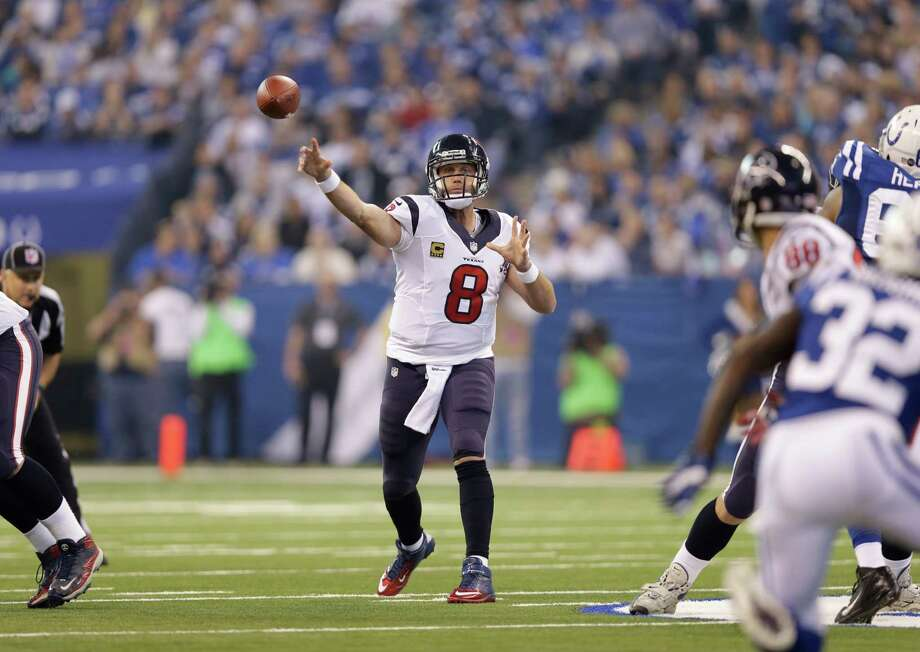 Houston Texans' Matt Schaub (8) throws during the first half of an NFL football game against the Indianapolis Colts Sunday, Dec. 30, 2012, in Indianapolis. (AP Photo/Michael Conroy) Photo: Michael Conroy, Associated Press / AP
