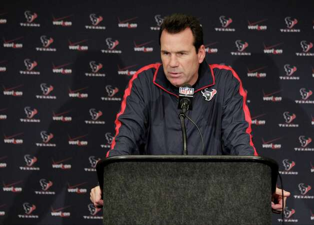 Houston Texans head coach Gary Kubiak responds to a question during a news conference after the Indianapolis Colts defeated the Texans, 28-16, in an NFL football game Sunday, Dec. 30, 2012, in Indianapolis. (AP Photo/AJ Mast) Photo: AJ Mast, Associated Press / FR123854 AP
