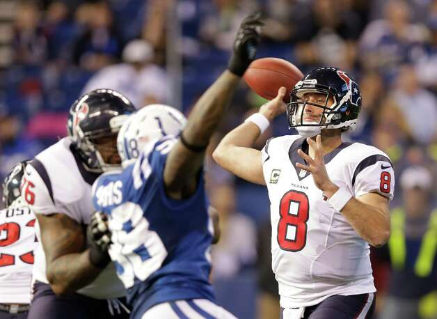 Houston Texans' Matt Schaub (8) throws during the second half of an NFL football game against the Indianapolis Colts Sunday, Dec. 30, 2012, in Indianapolis. (AP Photo/Michael Conroy) Photo: Michael Conroy, Associated Press / AP