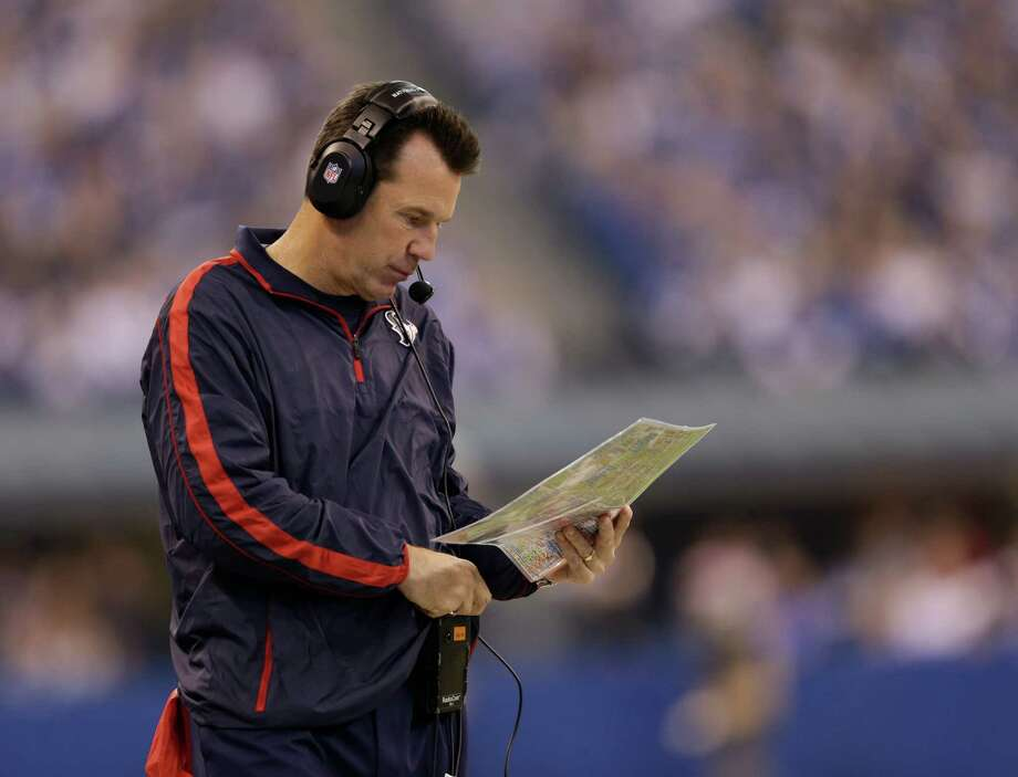 Houston Texans head coach Gary Kubiak watches during the first half of an NFL football game against the Indianapolis Colts Sunday, Dec. 30, 2012, in Indianapolis. (AP Photo/Michael Conroy) Photo: Michael Conroy, Associated Press / AP