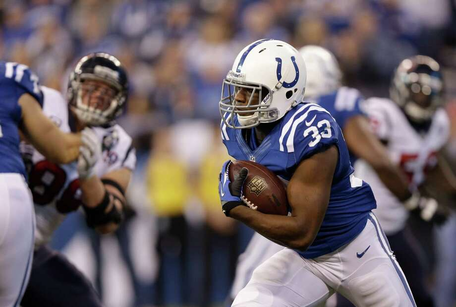 Indianapolis Colts' Vick Ballard (33) runs during the first half of an NFL football game against the Houston Texans Sunday, Dec. 30, 2012, in Indianapolis. (AP Photo/Michael Conroy) Photo: Michael Conroy, Associated Press / AP