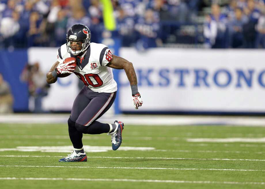 Houston Texans' Andre Johnson (80) runs following a reception during the second half of an NFL football game against the Indianapolis Colts Sunday, Dec. 30, 2012, in Indianapolis. (AP Photo/Michael Conroy) Photo: Michael Conroy, Associated Press / AP