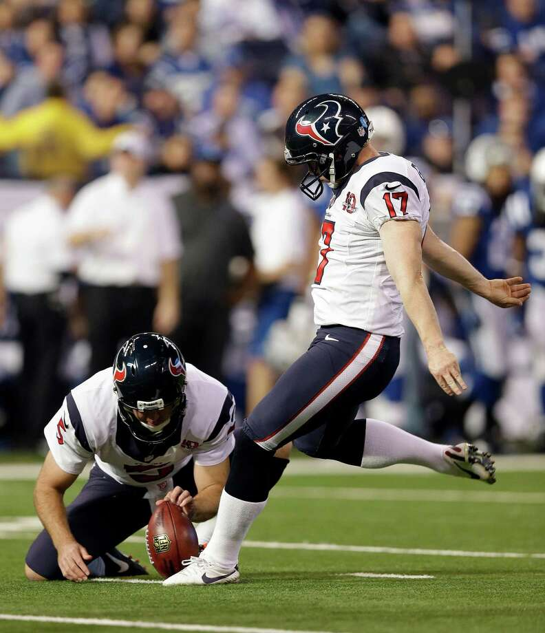 Houston Texans' Shayne Graham (17) kicks a 37-yard field goal out of the hold of Donnie Jones (5) during the first half of an NFL football game against the Indianapolis Colts Sunday, Dec. 30, 2012, in Indianapolis. (AP Photo/Michael Conroy) Photo: Michael Conroy, Associated Press / AP