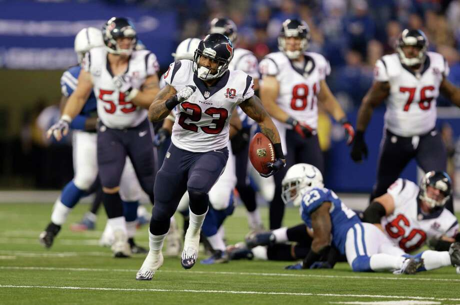 Houston Texans' Arian Foster (23) runs during the second half of an NFL football game against the Indianapolis Colts Sunday, Dec. 30, 2012, in Indianapolis. (AP Photo/Michael Conroy) Photo: Michael Conroy, Associated Press / AP