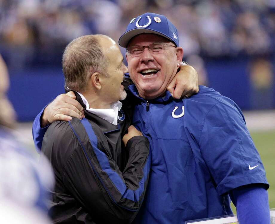Indianapolis Colts head coach Chuck Pagano, left, celebrates with offensive coordinator Bruce Arians after the Colts defeated the Houston Texans 28-16 in an NFL football game, Sunday, Dec. 30, 2012, in Indianapolis. (AP Photo/AJ Mast) Photo: AJ Mast, Associated Press / FR123854 AP