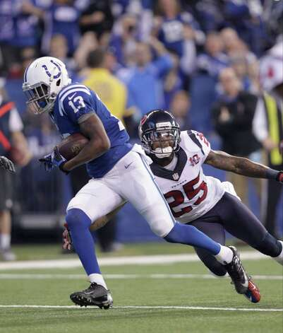 Indianapolis Colts' T.Y. Hilton (13) runs against Houston Texans' Kareem Jackson (25) during the first half of an NFL football game Sunday, Dec. 30, 2012, in Indianapolis. (AP Photo/AJ Mast) Photo: AJ Mast, Associated Press / FR123854 AP