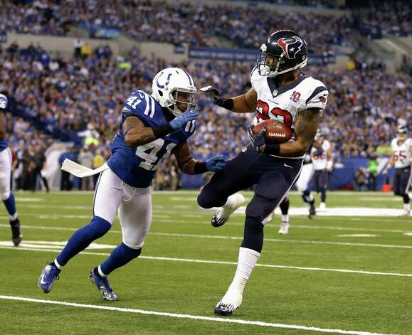 Houston Texans' Arian Foster (23) runs against Indianapolis Colts' Antoine Bethea during the second half of an NFL football game, Sunday, Dec. 30, 2012, in Indianapolis. (AP Photo/Michael Conroy) Photo: Michael Conroy, Associated Press / AP