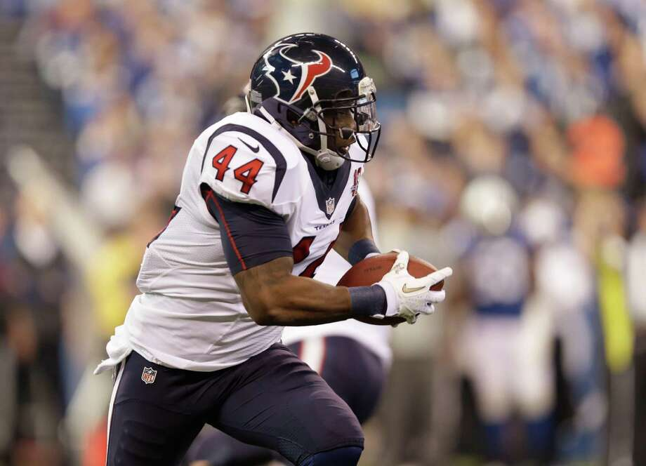 Houston Texans' Ben Tate (44) runs during the first half of an NFL football game against the Indianapolis Colts Sunday, Dec. 30, 2012, in Indianapolis. (AP Photo/Michael Conroy) Photo: Michael Conroy, Associated Press / AP