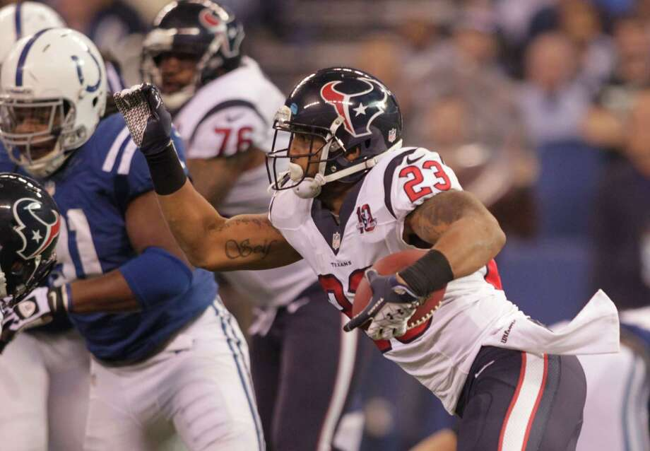 Houston Texans' Arian Foster (23) runs during the first half of an NFL football game against the Indianapolis Colts Sunday, Dec. 30, 2012, in Indianapolis. (AP Photo/AJ Mast) Photo: AJ Mast, Associated Press / FR123854 AP