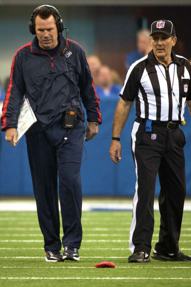 Texans head coach Gary Kubiak reacts after tossing the challenge flag during the first quarter.  He lost the challenge that the Colts had 12 players on the field. Photo: Smiley N. Pool, Houston Chronicle / © 2012  Houston Chronicle