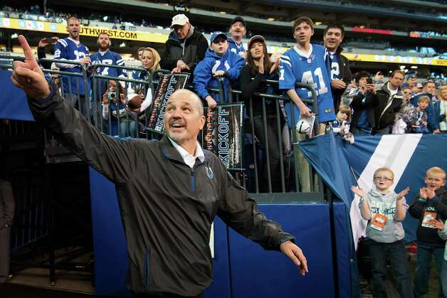 Indianapolis head coach Chuck Pagano acknowledges cheers from the crowd beforethe game. Pagano returned to the sidelines on Sunday for the first time since week 3 after undergoing treatment for leukemia. Photo: Smiley N. Pool, Houston Chronicle / © 2012  Houston Chronicle