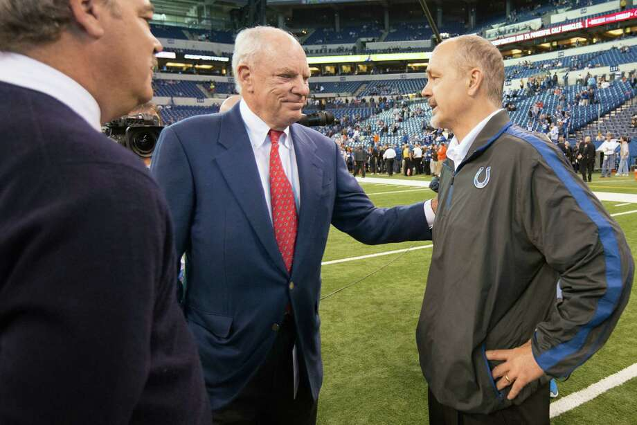 Texans owner Bob McNair chats with Colts head coach Chuck Pagano before the game. Photo: Smiley N. Pool, Houston Chronicle / © 2012  Houston Chronicle