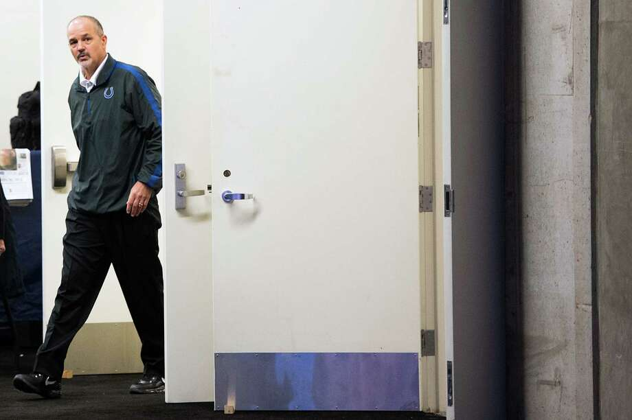 Colts head coach Chuck Pagano walks to the field from the locker room before the game. Photo: Smiley N. Pool, Houston Chronicle / © 2012  Houston Chronicle