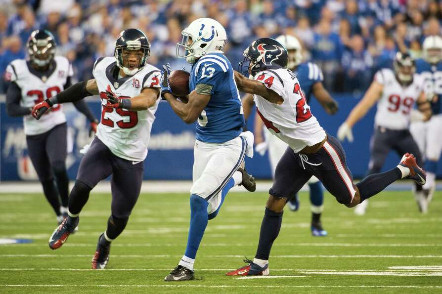 Colts wide receiver T.Y. Hilton (13) beats Texans cornerback Johnathan Joseph (24) and strong safety