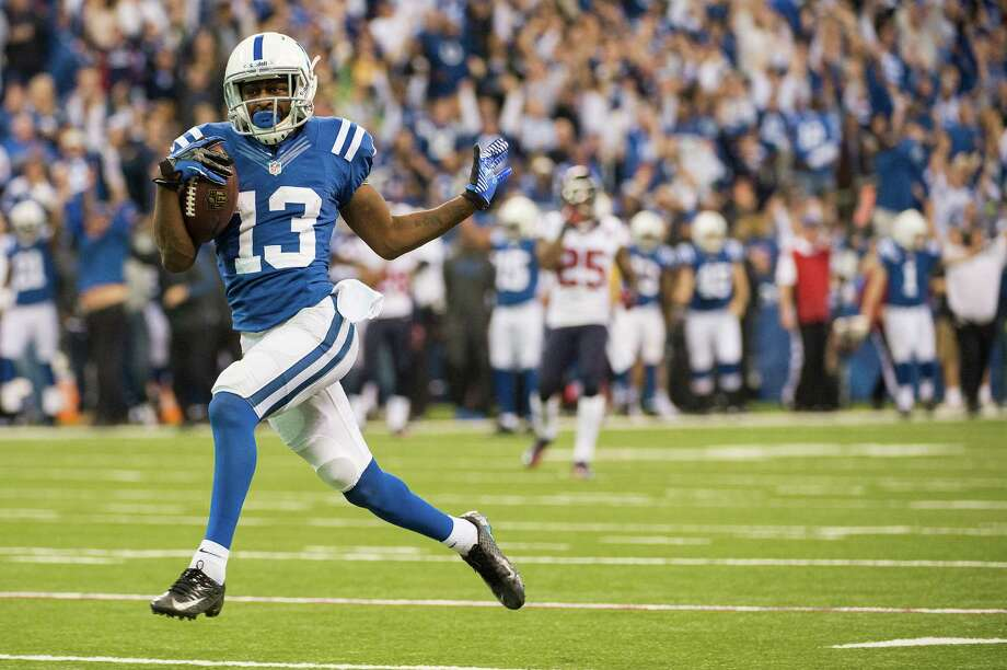 Indianapolis Colts wide receiver T.Y. Hilton struts into the end zone as he scores on a 70-yard touchdown pass during the fourth quarter. Photo: Smiley N. Pool, Houston Chronicle / © 2012  Houston Chronicle