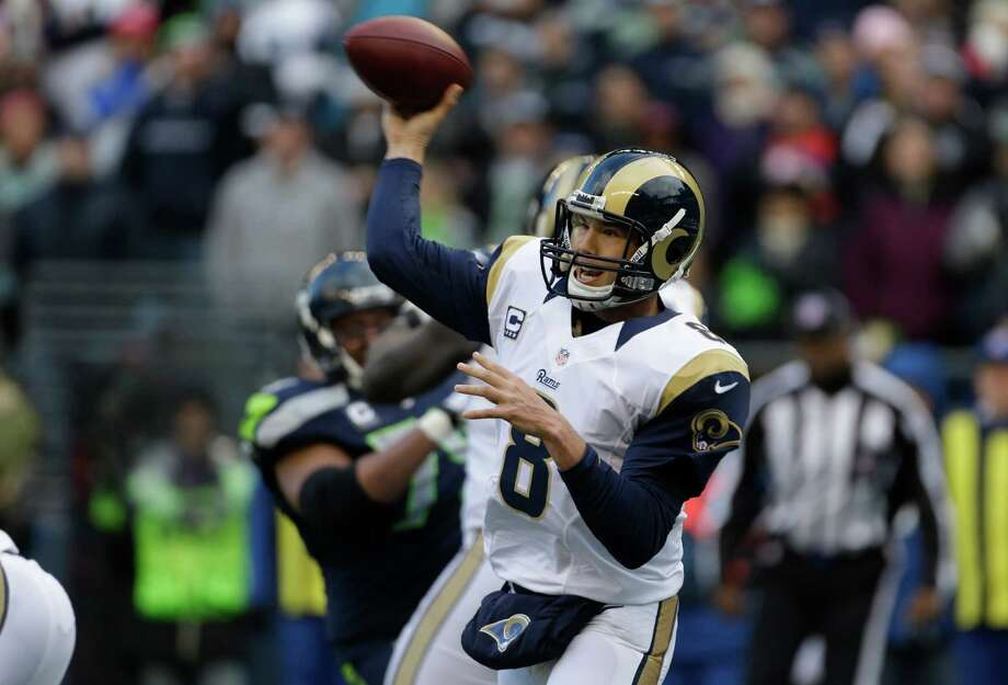 St. Louis Rams quarterback Sam Bradford pass against the Seattle Seahawks in the first half of an NFL football game, Sunday, Dec. 30, 2012, in Seattle. Photo: AP Photo/Elaine Thompson