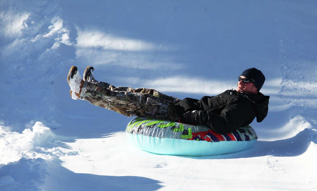 Jeremiah Rowan, of Ansonia, sleds at the Ansonia Nature Center.