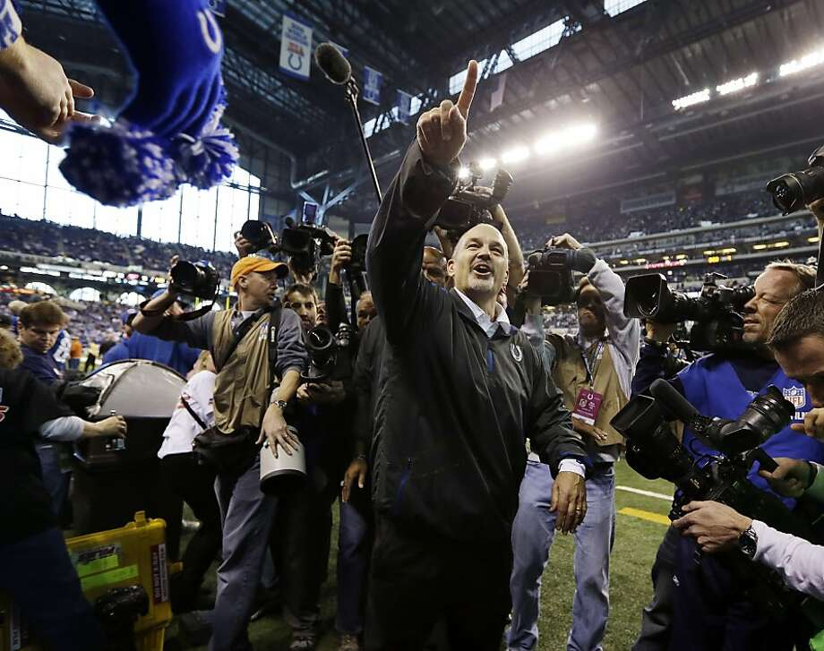 The Colts' Chuck Pagano has a bigger victory to celebrate. Photo: Michael Conroy, Associated Press