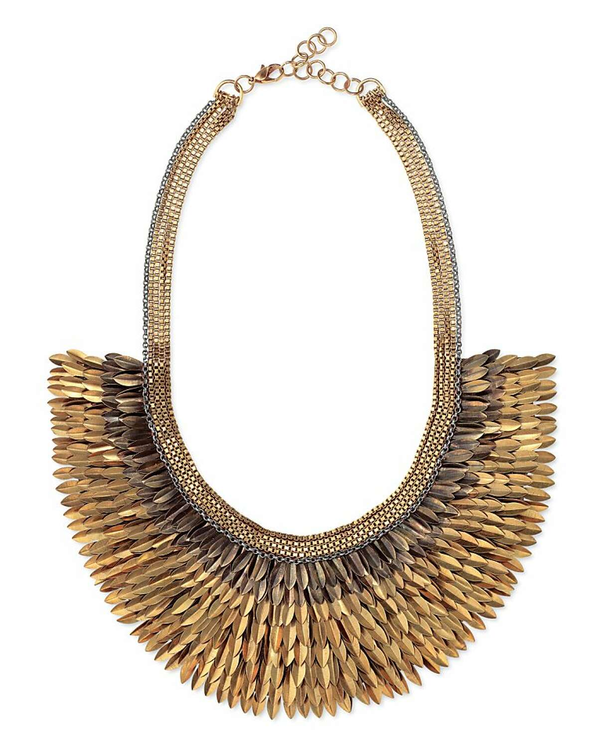 """Stella & Dot's jewelry line includes this necklace. """"The Pegasus"""" is a showstopper,"""" the founders say. """"It transforms any outfit into a 'wow' and is perfect for day or night. Each piece takes over two days to hand-embroider."""" ($198)"""