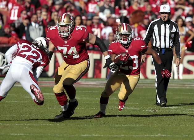 Offensive tackle Joe Staley (74) blocks for Running back LaMichael James (23) during the first half of the San Francisco 49ers game against the Arizona Cardinals at Candlestick Park in San Francisco, Calif., on Sunday December 30, 2012. Photo: John Storey, Special To The Chronicle