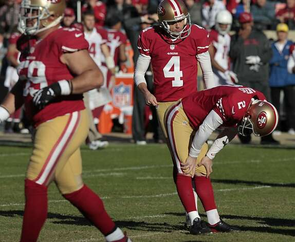 Kicker David Akers (2) after he misses his second field goal attempt during the second quarter of the San Francisco 49ers game against the Arizona Cardinals at Candlestick Park in San Francisco, Calif., on Sunday December 30, 2012. Photo: John Storey, Special To The Chronicle