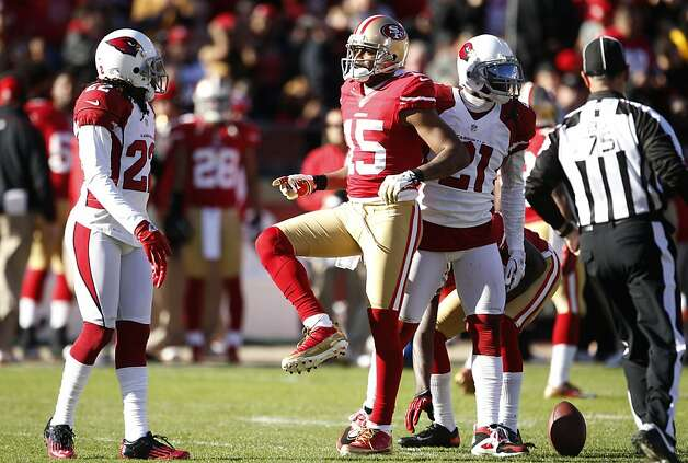 Wide receiver Michael Crabtree (15) celebrates after a long catch downfield int he second quarter of the San Francisco 49ers game against the Arizona Cardinals at Candlestick Park in San Francisco, Calif., on Sunday December 30, 2012. Photo: Carlos Avila Gonzalez, The Chronicle