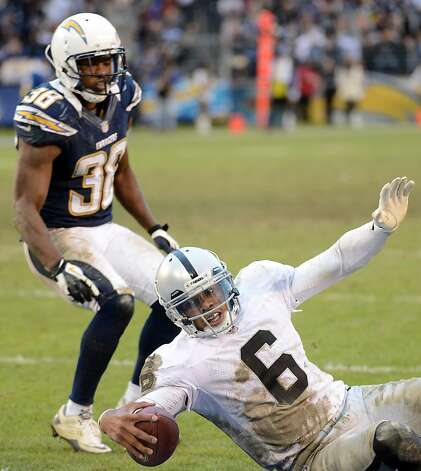 SAN DIEGO, CA - DECEMBER 30:  Terrelle Pryor #6 of the Oakland Raiders slides in for a touchdown in front of Marcus Gilchrist #38 of the San Diego Chargers to trail 24-21 during the fourth quarter at Qualcomm Stadium on December 30, 2012 in San Diego, California.  (Photo by Harry How/Getty Images) Photo: Harry How, Getty Images