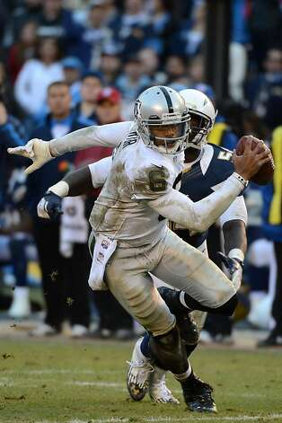 SAN DIEGO, CA - DECEMBER 30: Terrelle Pryor #6 of the Oakland Raiders runs the ball against the San Diego Chargers on December 30, 2012 at Qualcomm Stadium in San Diego, California. (Photo by Donald Miralle/Getty Images) Photo: Donald Miralle, Getty Images