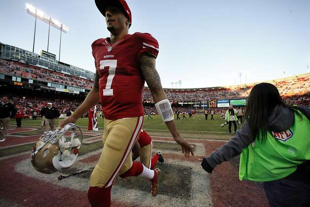 Colin Kaepernick comes off the field after the game ended. The San Francisco 49ers played the Arizona Cardinals at Candlestick Park in San Francisco, Calif., on Sunday, December 30, 2012, in the final game of the 2012 season. Photo: Carlos Avila Gonzalez, The Chronicle
